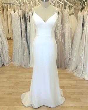 Simple Spaghetti Straps White Sheath Wedding Dress for Spring WD2410