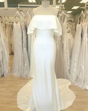 Cowl Neckline Simple White Satin Sheath Wedding Dress WD2411