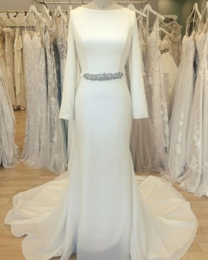 Simple Neckline Bateau White Satin Sheath Wedding Dress with Long Sleeves WD2412
