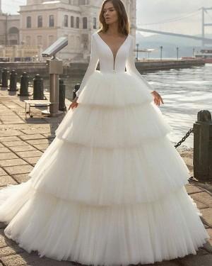 Simple V-neck Ruffle Long Sleeve White Wedding Dress with Layered Skirts WD2413
