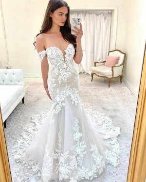 Ivory Lace Mermaid Off the Shoulder Wedding Dress with Court Train WD2414