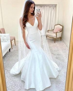 Spaghetti Straps White Mermaid Simple Wedding Dress WD2416