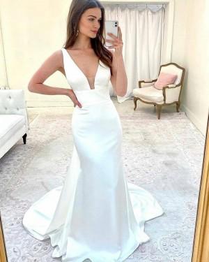V-neck Satin Sheath Simple Wedding Dress WD2417