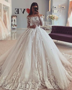 Lace Applique Off the Shoulder Ball Gown Wedding Dress WD2419