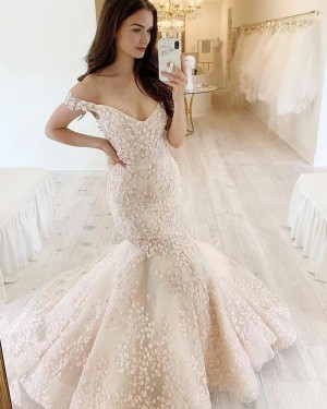 Ivory Lace V-neck Mermaid Wedding Dress WD2420