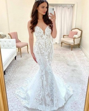Spaghetti Straps Lace Mermaid White Wedding Dress with Court Train WD2421