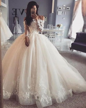 Ivory Lace Bodice Ivory Off the Shoulder Ball Gown Wedding Dress with Long Sleeves WD2422