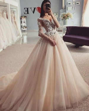 Champagne Beading Lace Bodice V-neck Wedding Dress with Long Sleeves WD2423