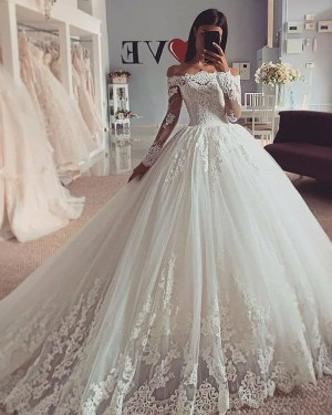 Off the Shoulder Lace Applique White Wedding Dress with Long Sleeves WD2424