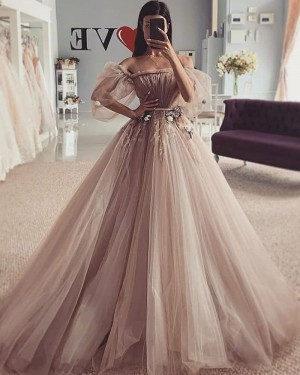 Brown Ruched Beading Tulle Off the Shoulder Wedding Dress WD2425