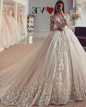 White Lace Tulle Sheer Neckline Ball Gown Wedding Dress with Long Sleeves WD2426