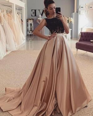 Satin Black & Brown Jewel Neckline Beading Bodice Evening Dress WD2427