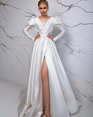 Simple V-neck Satin White Long Sleeve Vintage Wedding Dress with Slit WD2428