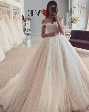Off the Shoulder Ivory Tulle Pleated Simple Wedding Dress WD2429