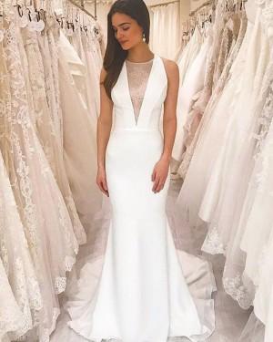 Jewel Neckline White Sheath Simple Wedding Dress with Court Strain WD2430