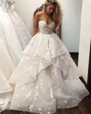 White Lace Ruffle Sweetheart Wedding Dress WD2431