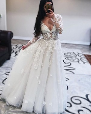 Tulle V-neck Pleated White Wedding Dress with Long Sleeves WD2432