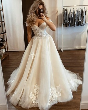 Ivory Tulle Applique Off the Shoulder Wedding Dress WD2433