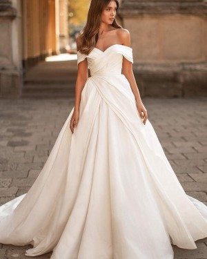 Off the Shoulder White Ruched Satin Simple Wedding Dress WD2434