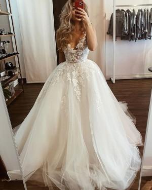 Lace Applique Tulle White V-neck Wedding Dress WD2435