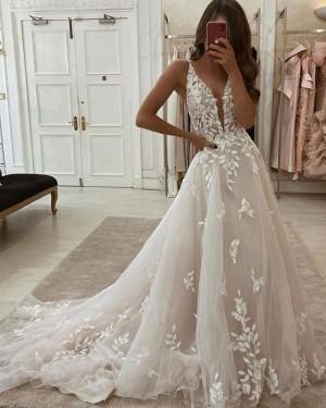 Lace Applique Ivory A-line V-neck Wedding Dress WD2436