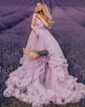 V-neck Ruched Tulle Tiered Feather Lavender Wedding Dress WD2437