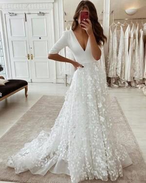 V-neck Handmade Flower White Wedding Dress with Half Length Sleeves WD2438
