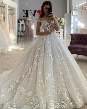 Elegant Off the Shoulder Lace Applique Ivory Wedding Dress WD2439