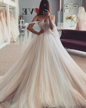 Beading Bodice Tulle Champagne Wedding Dress with Flutter Sleeves WD2440