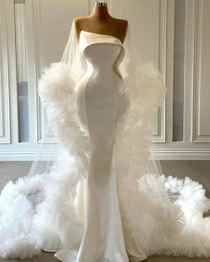 Bell Sleeves White Tulle Cowl Neckline Mermaid Wedding Dress with Feather Hems WD2441