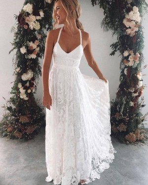White Floor Length Halter Lace Sheath Beach Wedding Dress WD2442