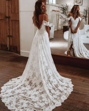 White Lace Cold Shoulder Wedding Dress with Middle Slit WD2443