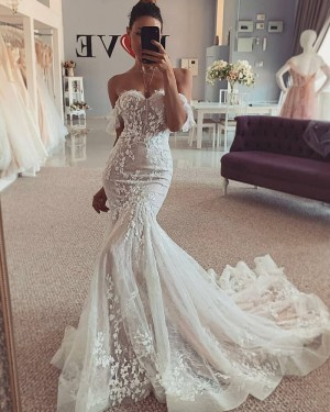 Lace Ivory Off the Shoulder Mermaid Wedding Dress WD2444