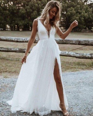 V-neck Lace White Beach Simple Wedding Dress with Side Slit WD2445