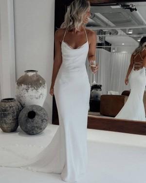 Halter White Mermaid Simple Wedding Dress with Court Train WD2446