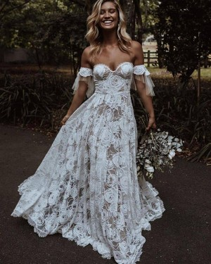 Ivory Off the Shoulder Lace A-line Wedding Dress WD2447