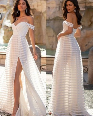 White V-neck Strip Tulle Beach Simple Wedding Dress with Side Slit WD2448