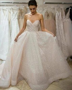 Elegant Ruched Blinking Sweetheart Sequin Wedding Dress WD2449