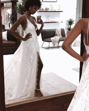 Spaghetti Straps Lace White Wedding Dress with Side Slit WD2450