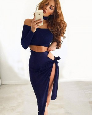 Two Piece Sexy Long Sleeve Asymmetric Party Dress ZY7128
