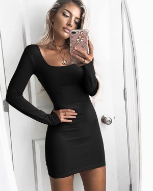 Scoop Neck Long Sleeve Tight Club Dress ZY7635
