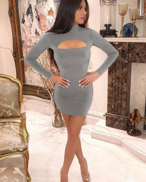 Black High Neck Cutout Tight Club Dress with Long Sleeves ZY7722