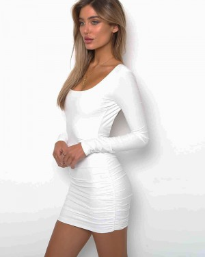 Long Sleeve Ruched Tight Club Dress with Open Back ZY7725