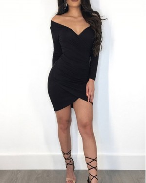 Off the Shoulder Tight Long Sleeve Club Dress with Tulip Skirt K9245