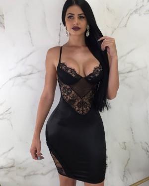 Spaghetti Straps Lace Tight Bodycon Club Dress M767