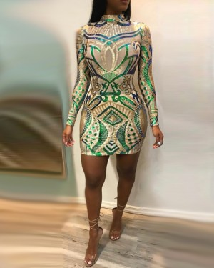 High Neck Bodycon Sequined Club Dress with Long Sleeves M845