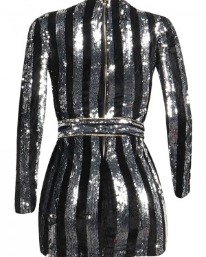Jewel Sequined Silver and Black Bodycon Club Dress with Long Sleeves M852