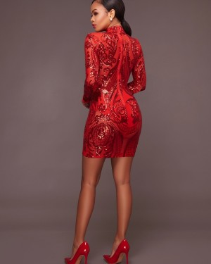 High Neck Sequin Bodycon Club Dress with Long Sleeves M853