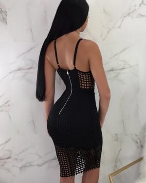 Spaghetti Straps Cutout Bodycon Club Dress with Fish Net M777