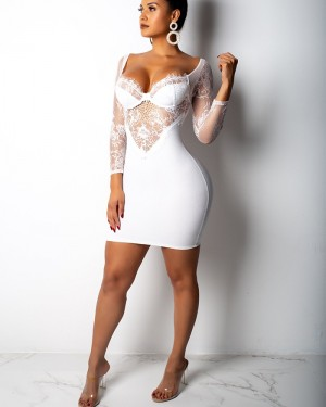 Square White Bodycon Club Dress with Long Lace Sleeves M878